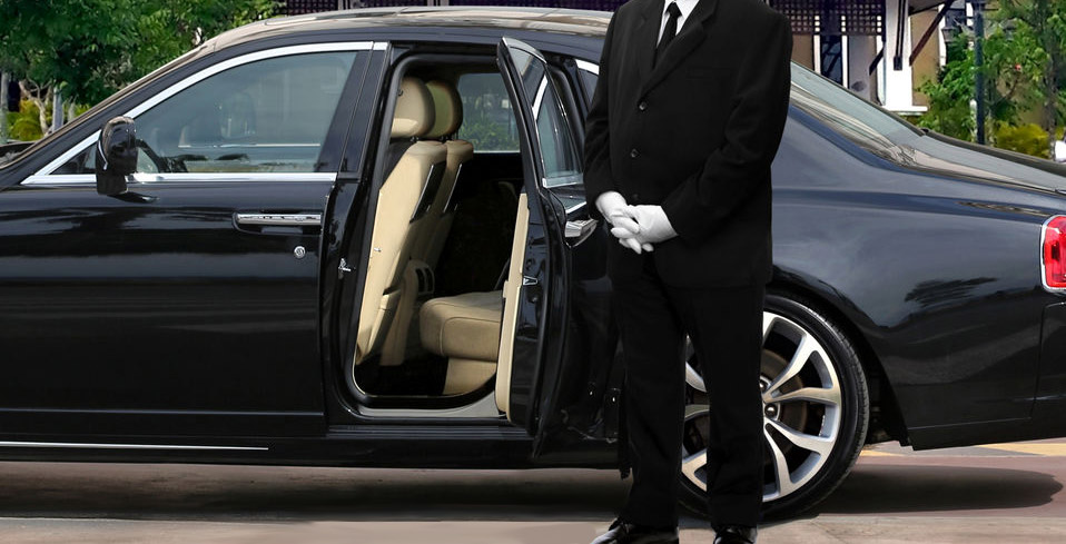 Limo driver waiting for client