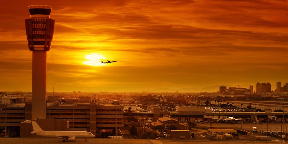 Phoenix Sky Harbor Airport at Sunset