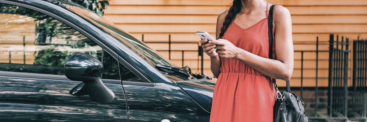 Ride Sharing Women on Smart Phone Ordering Car Service